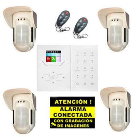 Kit de Alarma Táctil Perimetral Bysecur IP WIFI. Central + 4 Volumétricos de exterior + 2 Mandos